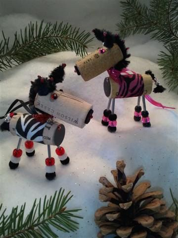 THE CUTEST WINE CHRISTMAS ORNAMENTS EVER.    Winedeer ™ - ZINFUL ZEBRA - Wine Christmas Ornaments are totally unique pieces. Available in 2 body