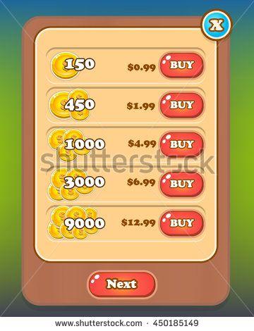 Shop Pop Up Game Asset Screen - Reskin - stock vector