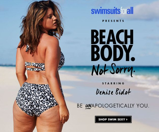 "Kürzlich veröffentlichte SwimsuitsForAll eine neue Kampagne unter dem Motto ""Beach Body. Not Sorry."" Die Kampagne zeigt das Model Denise Bidot unretuschiert und sexy."