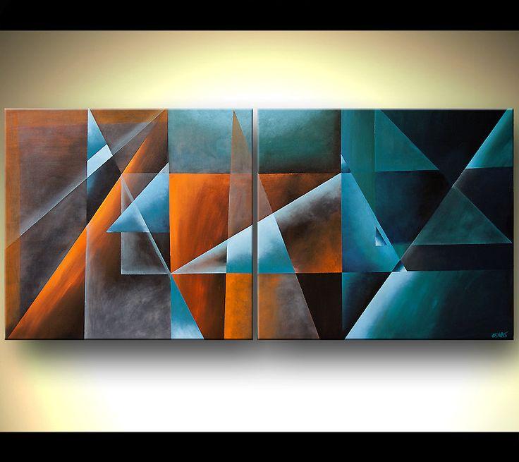 Contemporary arte geométrico abstracto pintura por OsnatFineArt