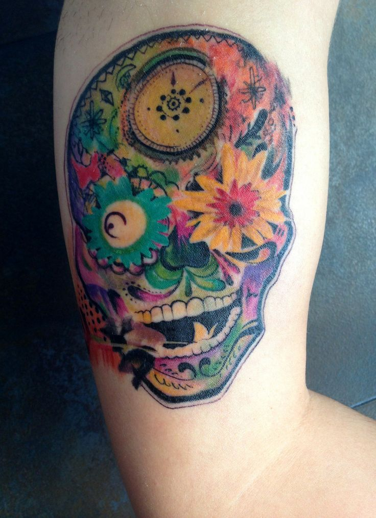 psychedelic sugar skull by jose gonzalez at ink in