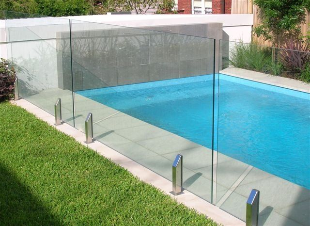 Glass fencing for the pool.