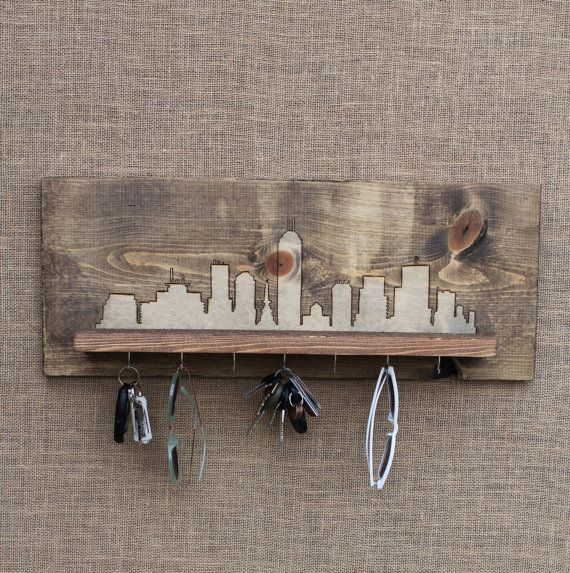 Wooden Entryway Shelf and Key Holder with Wood by WildHouseDesigns