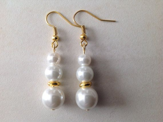 White Glass Pearl and Gold Beaded Earrings by EverGracefulGifts