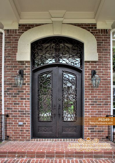 66 best ornamental iron entry doors images on pinterest for Wrought iron front doors