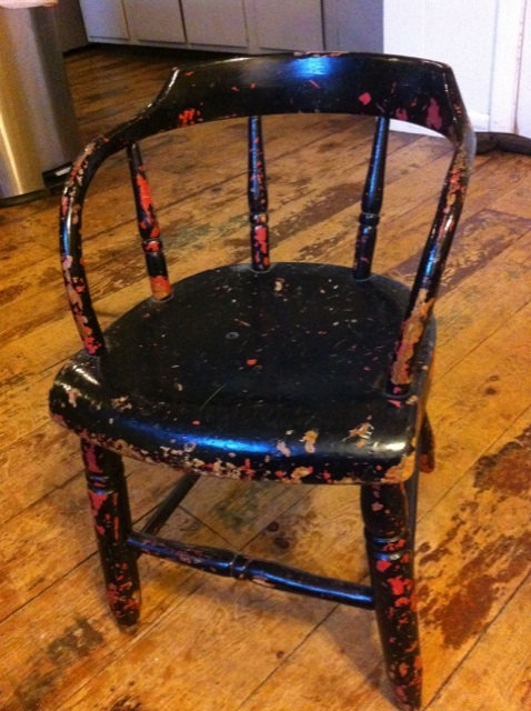 Childs ChairAntiqueBlack and Pink Original by cabinintheheartland, $75.00: Vintage Child, Child Chairs, Child Chairantiqueblack