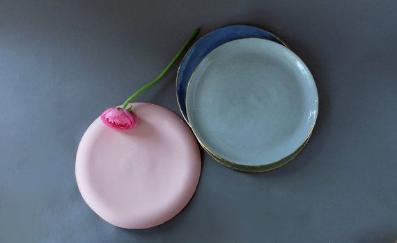 Small plate Pink plates Green dishes Blue dinner plates Gray pottery plate Serving set of 4 Ceramic dish set Gift for her SCULPTUREinDESIGN
