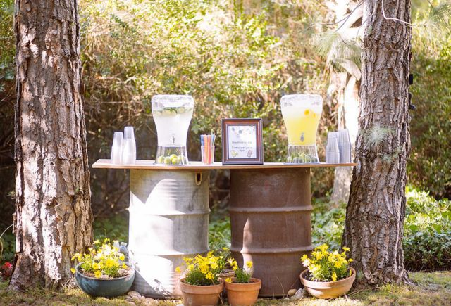 Lemonade station at a  Rustic Wedding!  See more party ideas at CatchMyParty.com!  #partyideas #wedding