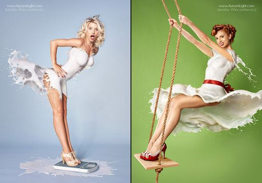 Pin-up Photos With Milk Instead of Clothes HOT