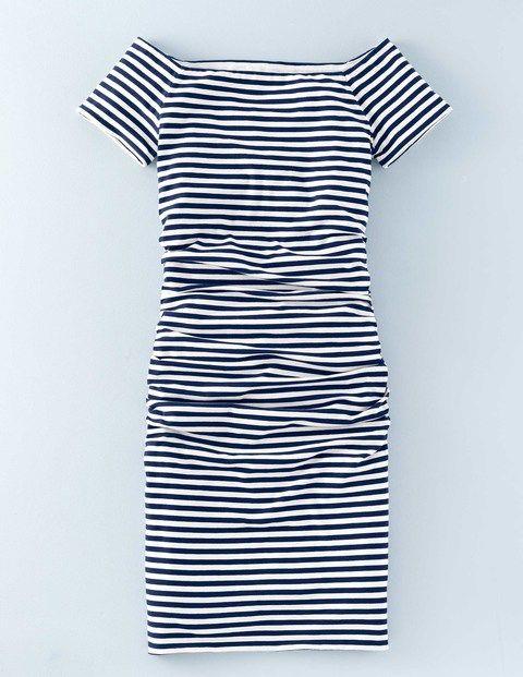 Off Shoulder Ruched Dress WW065 Jersey Dresses at Boden
