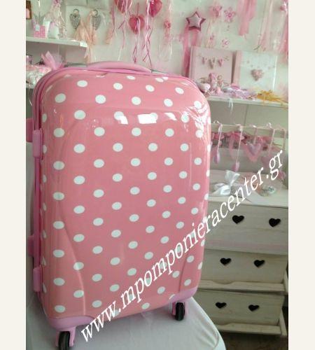 Βαλίτσα τρόλεϋ ροζ με λευκό πουά