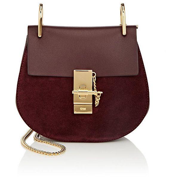 Chloé Women's Drew Mini Crossbody Bag (£1,435) ❤ liked on Polyvore featuring bags, handbags, shoulder bags, dark purple, chain strap shoulder bag, chloe purses, shoulder strap bags, mini crossbody purse and red shoulder bag