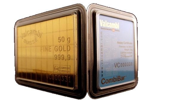 Un assegno circolare portatile, 50 lamelle di un gr d'oro ognuna, perfette per catastrofi e/o fughe improvvise: ValcambiGold. Valcambi Gold Bar (CombiBar) - 50g