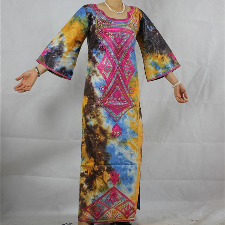 (Free Shipping)2017 New African fashion riche bazin dress for women traditional bazin cotton 100% embroidery crystal decoration