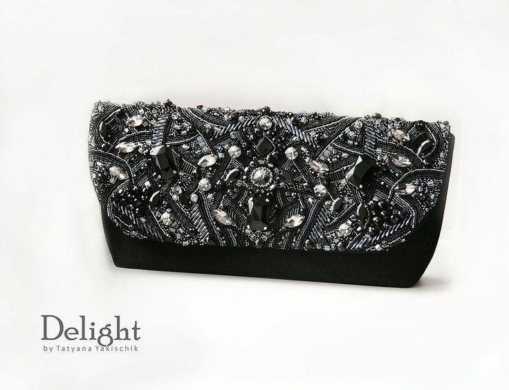 """Купить Клатч """"Silver night"""" - серебряный, абстрактный, клатч ручной работы, женская сумочка"""