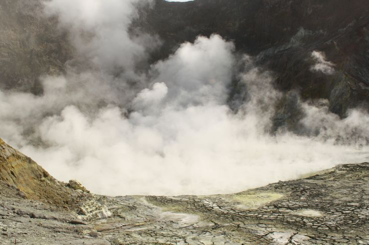 The steaning crater of the active volcano.