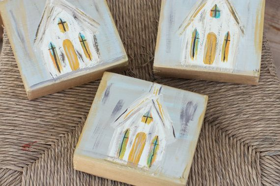 Country Church Textured Primitive Wood Block by LillyOmaDesigns