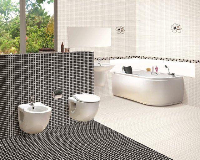 design salle bains moderne avec mosaïque en noir et blanc