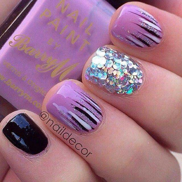 Embedded image Perma link pretty purple glitter shimmer stripe and black  nails - 1002 Best Amazing Nails Images On Pinterest Amazing Nails, Make