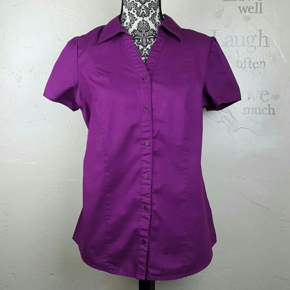 $5 SALE St. John's Bay Dressy Top Dressy plum top. Comes with an extra button :) 97% cotton, 3% spandex   Laying flat measures approximately: Length 27 inches.  Underarm to underarm 21.5 inches.  Smoke free home.  ❎No trades. St. John's Bay Tops