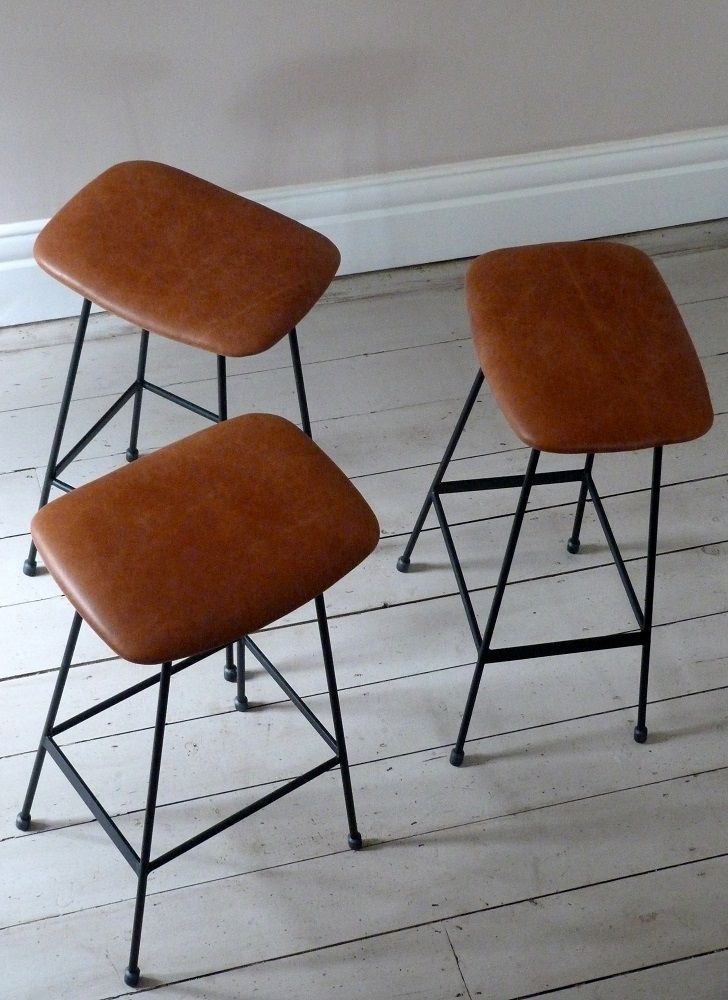 Set of Three Leather Cafe Counter Stools / Bar Stools from