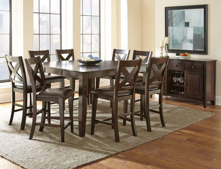 counter height dining table wood high back bench with