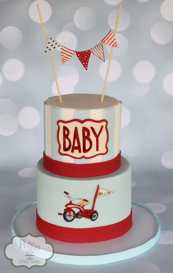 Vintage retro tricycle bicycle bunting blue and red baby shower cake