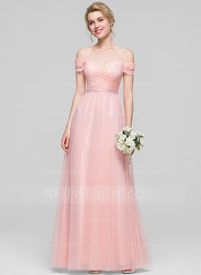 A-Line/Princess Off-the-Shoulder Floor-Length Ruffle Zipper Up Spaghetti Straps Sleeveless No Pearl Pink Spring Summer Fall General Plus Tulle Bridesmaid Dress