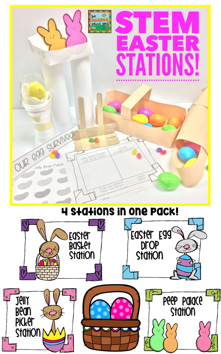 "Hop on over to this STEM Easter Pack that is filled with four hands on STEM activities for your classroom this spring. The differentiated sheets allow for multiple grade levels to participate in each of these stations... this pack is sure to please your ""peeps"".    This pack contains four engineering activities: 1. Easter Egg Drop Station 2. Easter Basket Making Station 3. Jelly Bean Picker Upper Station 4. Peep Palace Station"