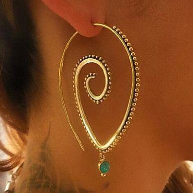 Dam Ringformade Örhängen Vintage Bohemisk Legering Oval Form Hängande Smycken Till Party Förlovning Casual Jul
