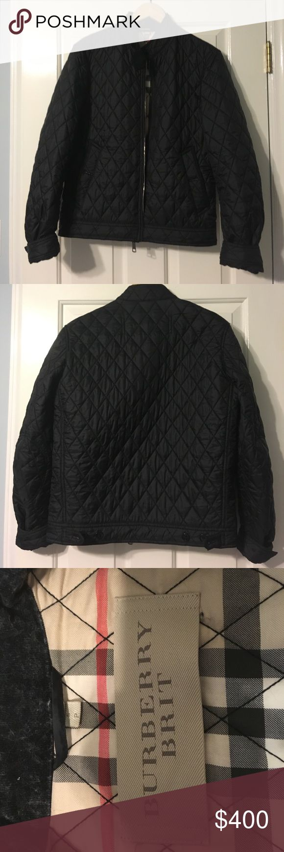Burberry Brit jacket, small petite, worn once! Burberry Brit jacket, small petite, worn once! Black. Excellent condition. Burberry Jackets & Coats