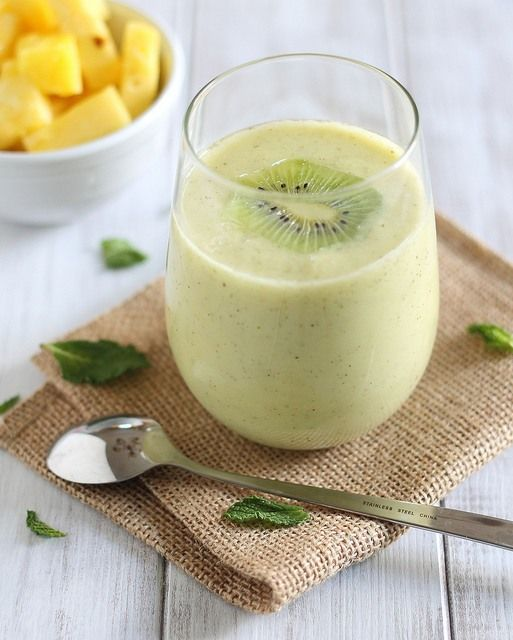 Ingredients 1 cup cubed pineapple 1 kiwi 5-6 mint leaves ½ cup coconut milk 3 ice cubes Instructions Combine all ingredients in a blender and blend until smooth.