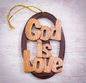 """Tablou din lemn """"God is love"""". #woodenboard #christianmessage #God #love"""