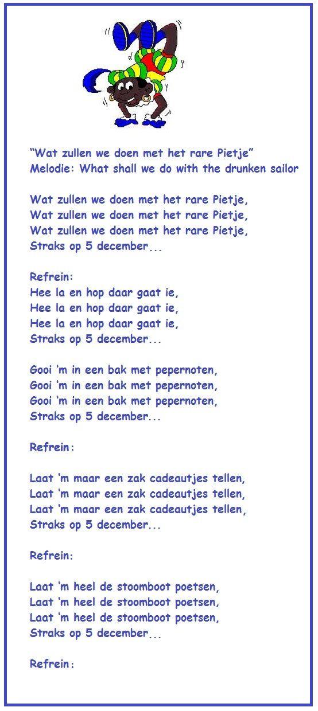 Sint Nicolaas en zijn Maatjes:  ☞♪LIEDJE: Wat zullen we doen met het rare Pietje..