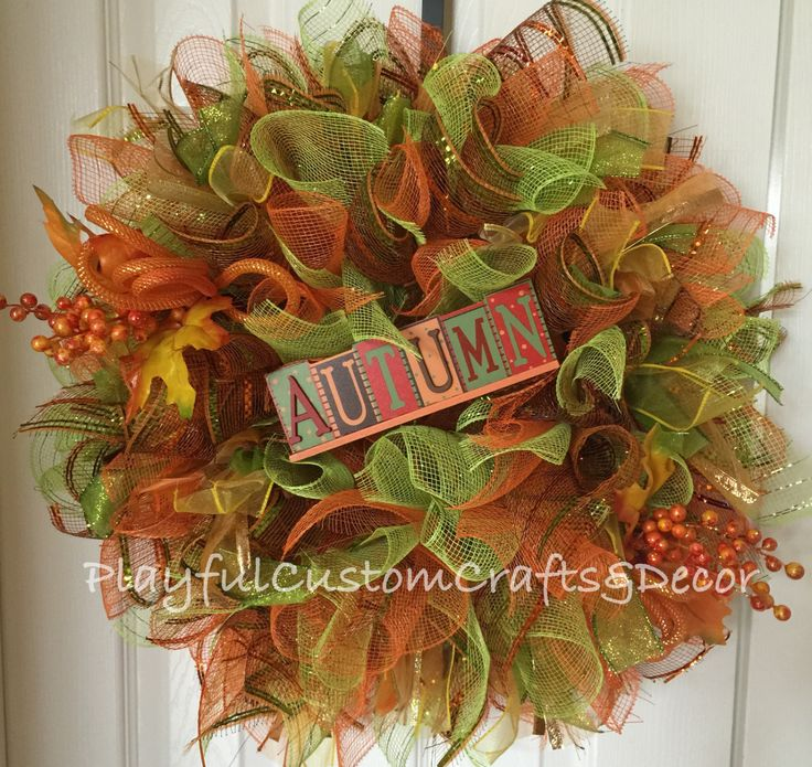 "This gorgeous Autumn wreath would look stunning on your front door to welcome in Autumn. It is made on a 12"" wire frame and measures 20"" across."