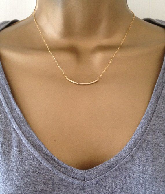 Gold Chain Necklace Dainty Curve Bar Necklace UK by PABJewellery, £22.99