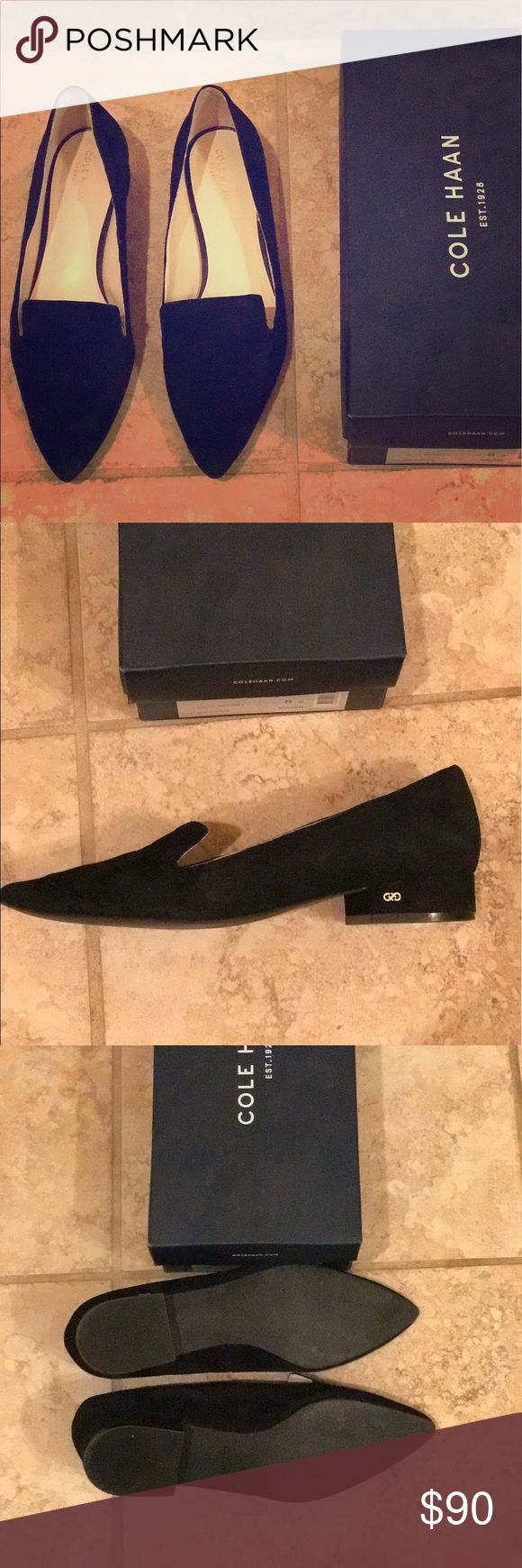 Cole haan black suede loafers Worn twice! They rubbed my heel on the right and I placed a thin furry liner which just didn't work for me. Should easily come off. Otherwise perfect condition! Cole Haan Shoes Flats & Loafers