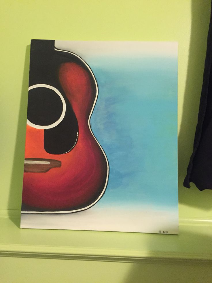 I put my little animated looking guitar I painted in my sketch book to life on a canvas! Almost don't just have to paint the strings