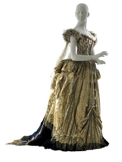 "Charles Frederick Worth, ""Electric Light"" costume, 1883. Worn by Mrs. Cornelius Vanderbilt II. (alt pin)"