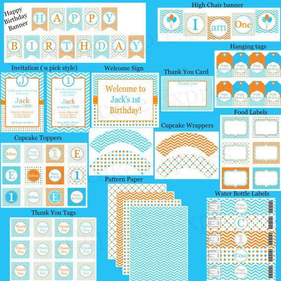 DIY  Orange Blue Aqua Birthday Party PRINTABLE Cupcake Toppers favor tags baby shower Chevron polka dots. $10.00, via Etsy.