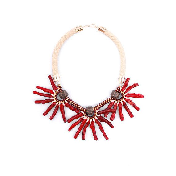 Red Statement Necklace.Bordeaux.Dark Red.Brown.Cream.Coral Necklace.Bold Fashion.Oversized Necklace.