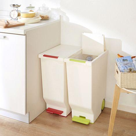 ペダルで開閉できるスライド式ダストボックス45L 通販 【ニッセン】 掃除用品・ゴミ箱 ゴミ箱・ダストボックス キッチン用ゴミ箱