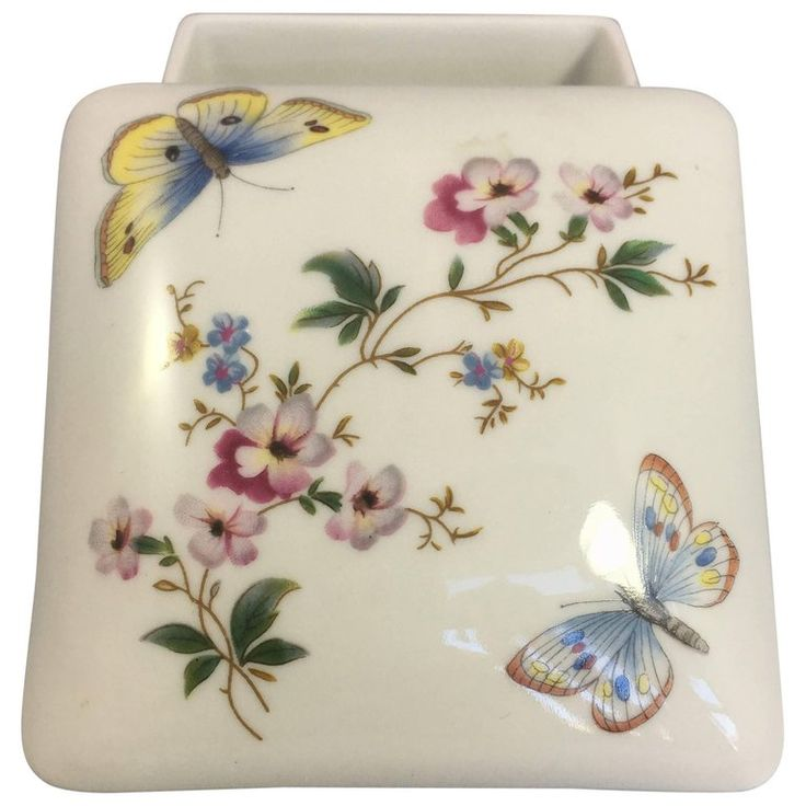 Limoges Hand Painted Butterfly Porcelain Trinket Box with Lid For Sale