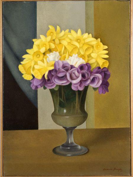 Antonio Donghi, Interno con vaso o Vaso di fiori, 1928, Olio su tela, cm. 73,5x59,5