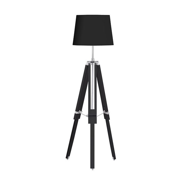 Industrial style tripod spotlight giant floor lamp with black shade, dwell