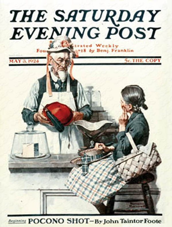 """Thoughtful Shopper""    by Norman Rockwell  May 3, 1924  General store merchant tries on hat for girl shopper. The Saturday Evening Post"