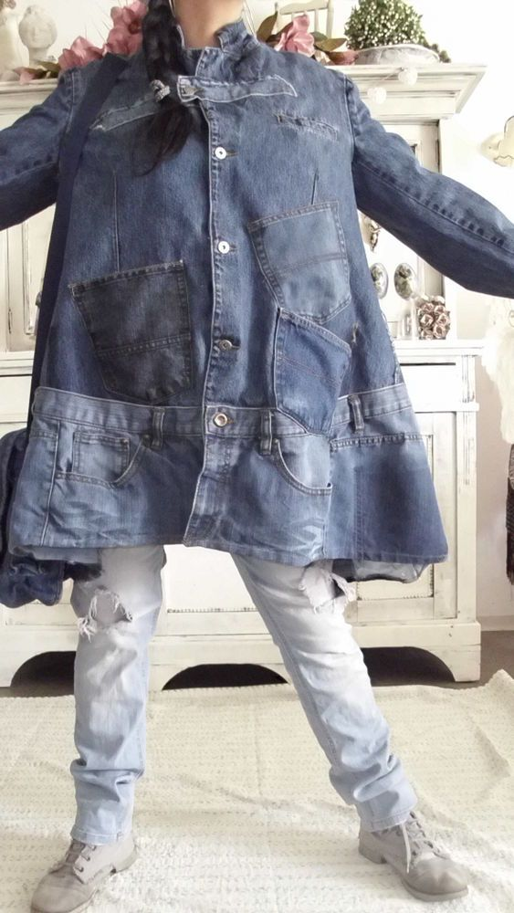 mantel jacke jeans patwork hippie birker rockabilly upcycling lagenlook unikat