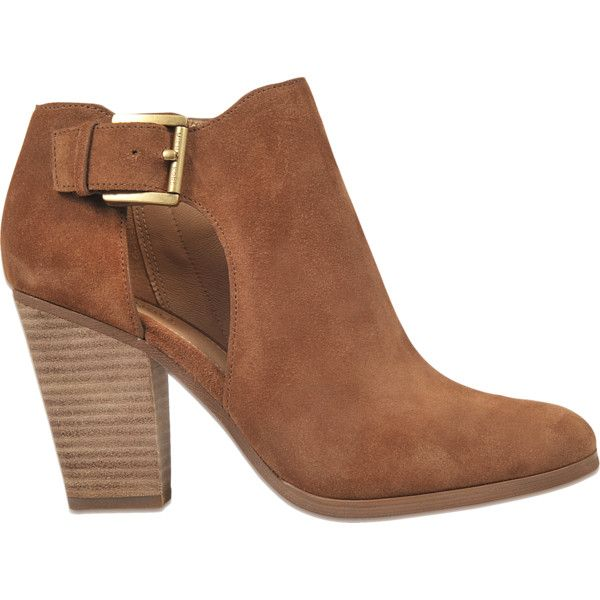Michael Michael Kors Adams bootie ($120) ❤ liked on Polyvore featuring shoes, boots, ankle booties, brown, brown boots, ankle bootie boots, brown bootie, short brown boots and brown booties