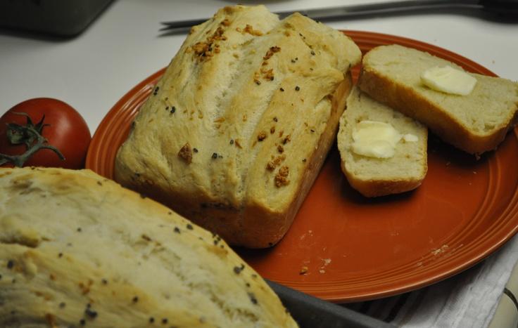 Fresh bread made with minced garlic and Hawaiian black sea salt  -yummmmm