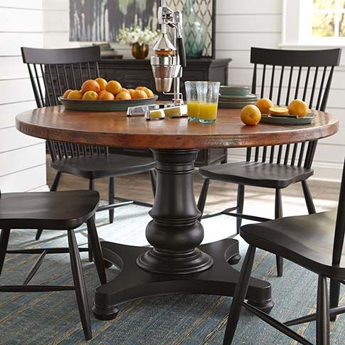 """54"""" Round Copper Dining Table by Bassett Furniture. Customize your table with multiple base styles in your choice of finish, along with the copper top."""